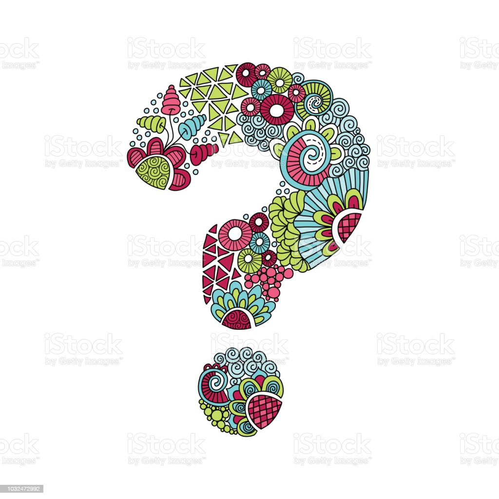 Multi Colour Question Mark Hand Drawn Doodle Vector vector art illustration