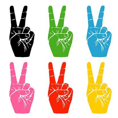 Multi Coloured Hand Peace Signs