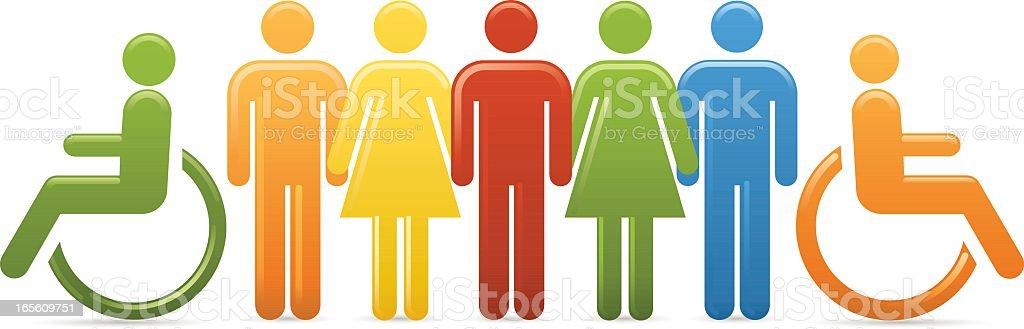 Multi Coloured Workforce vector art illustration