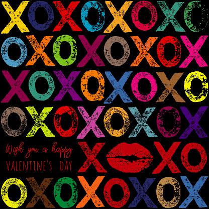 Multi Coloured XOXO Letter Print Pattern