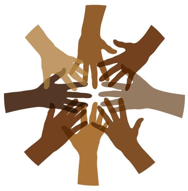 Multi cultural hand circle illustration vector art illustration