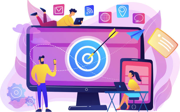 Multi device targeting concept vector illustration. Concumers with devices get targeted ads and messages. Multi device targeting, reaching audience, cross-device marketing concept on white background. Bright vibrant violet vector isolated illustration audience stock illustrations
