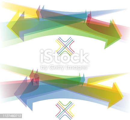 Directional infographic, colorful arrows through the crossroad.