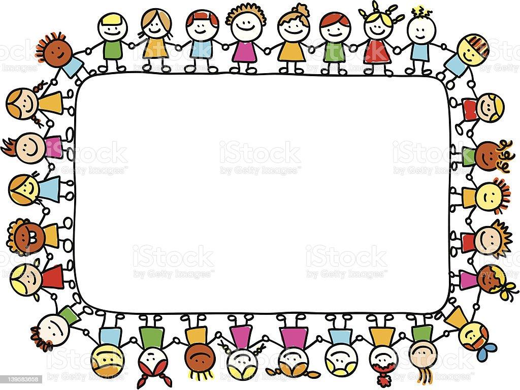 royalty free group of children holding banner clip art vector rh istockphoto com