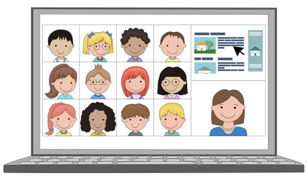 illustrazioni stock, clip art, cartoni animati e icone di tendenza di classe multietnica di bambini distanza imparare online da remoto con l'insegnante - didattica a distanza