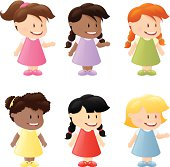 Six little kids of different ethnicity.