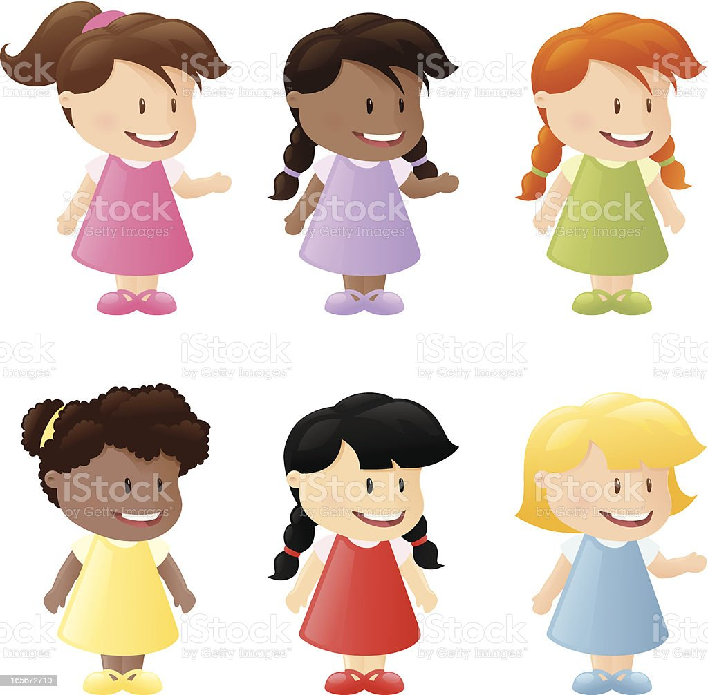 Multi Ethnic Girls vector art illustration