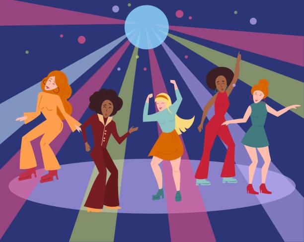 Multi ethnic group in 1960 1970 cloth dance disco vector art illustration