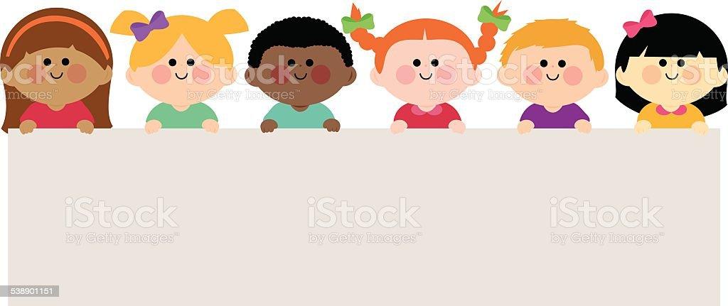 Multi ethnic group of kids holding horizontal blank banner vector art illustration