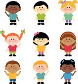 A happy multi ethnic group of children vector set.