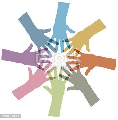 istock Multi ethnic help illustration 1264013086