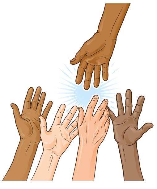 Multi ethnic helping hand illustration vector art illustration
