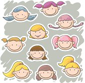 Multi ethnic little girls' faces in cartoon style, with colour