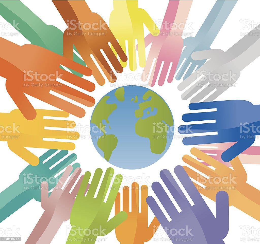 Multi ethnic team work over the world. royalty-free stock vector art