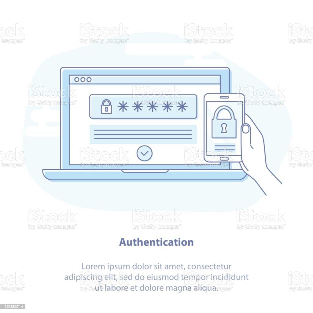 Multi factor authentication vector art illustration
