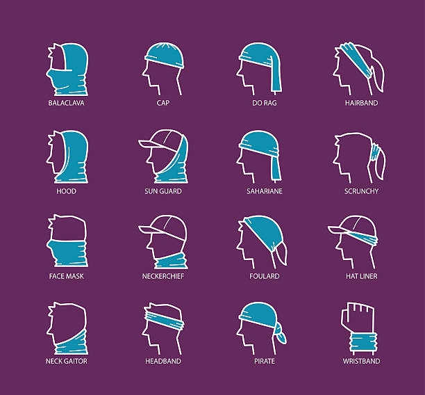 ilustrações de stock, clip art, desenhos animados e ícones de multi functional headwear scarf - lenço do pescoço