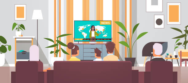 multi generation family watching TV daily news program spending time together living room interior multi generation family watching TV daily news program spending time together modern living room interior rear view portrait horizontal vector illustration family watching tv stock illustrations