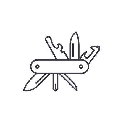 Multi knife line icon concept. Multi knife vector linear illustration, sign, symbol