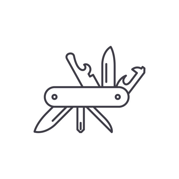 ilustrações de stock, clip art, desenhos animados e ícones de multi knife line icon concept. multi knife vector linear illustration, sign, symbol - swiss army knife