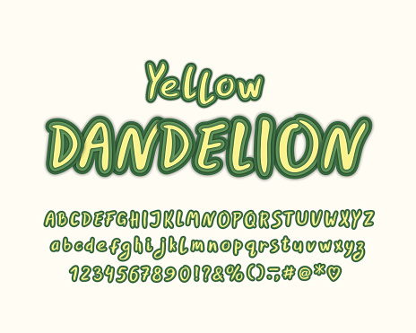 Multi layers Alphabet, Yellow Dandelion color. Vector letters, numbers and punctuation marks