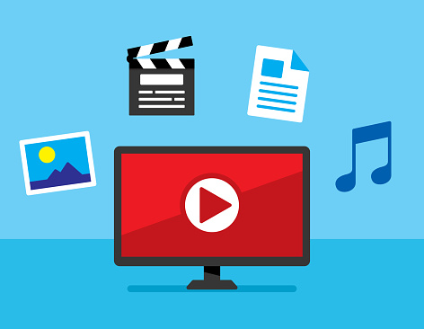 Vector illustration of a computer with play button against a blue background with picture, movie, document, and music icons in flat style.
