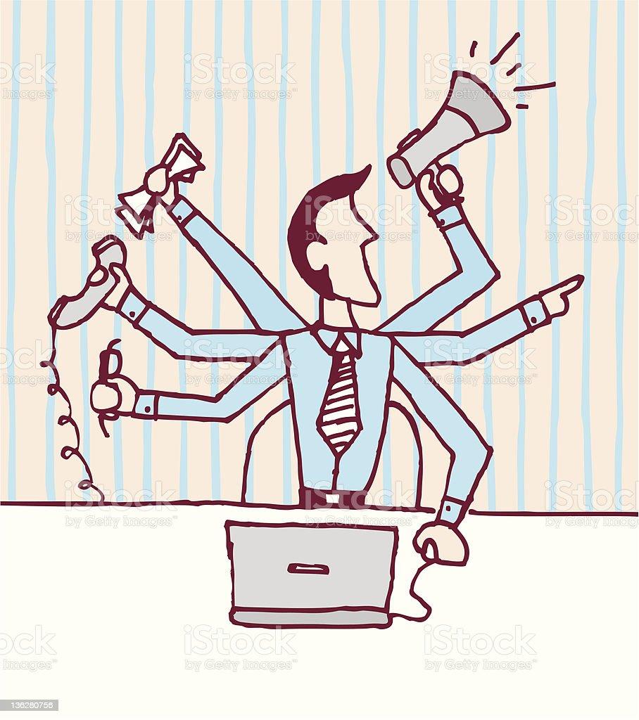 Multi tasking businessman / Stressed occupied royalty-free stock vector art
