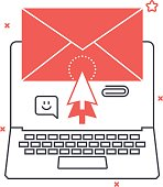 Multi tone icon, mail background and graphic
