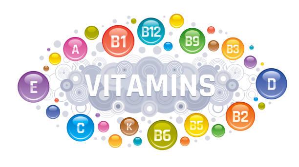 멀티 비타민 복잡 한 아이콘입니다. 비타민 a, b 그룹-b1, b2, b3, b5, b6, b9, b12, c, d, e, k 종합 비타민 보충 기호, 고립 된 흰색 배경. 다이어트 infographic 포스터입니다. 약국 벡터 일러스트 레이 션 - vitamin d stock illustrations