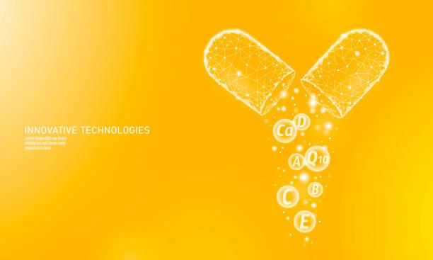 multi vitamin kompleksi düşük poli kapsül. sağlık cilt bakımı vücut geliştirme anti-aging eczane afiş şablonu ek. 3d koenzim q10, a, b, c, d. tıp bilim vektör çizim - vitamin d stock illustrations