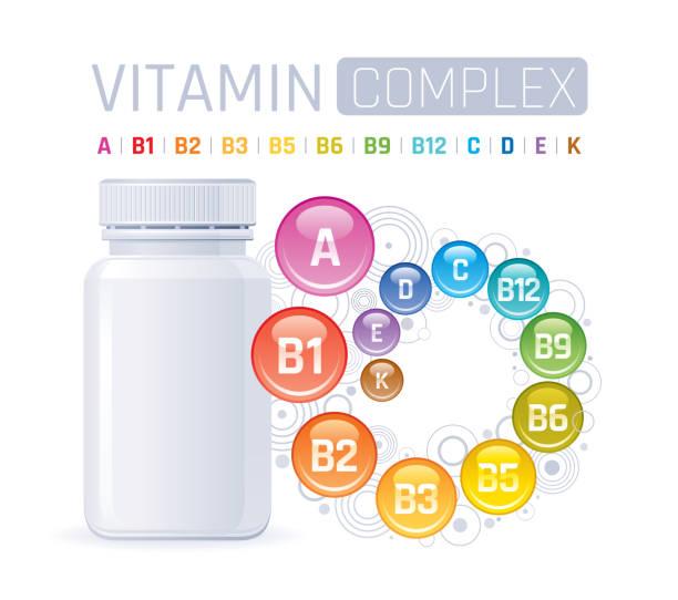 멀티 비타민 복합 보충제. 빈 병 비타민 a, b1, b2, b3, b5, b6, b9, b12, c, d, e, k. 트렌디 한 건강 현실적인 종합 비타민 복합 포스터와 3d 모형. 흰색 배경에 격리. - vitamin d stock illustrations