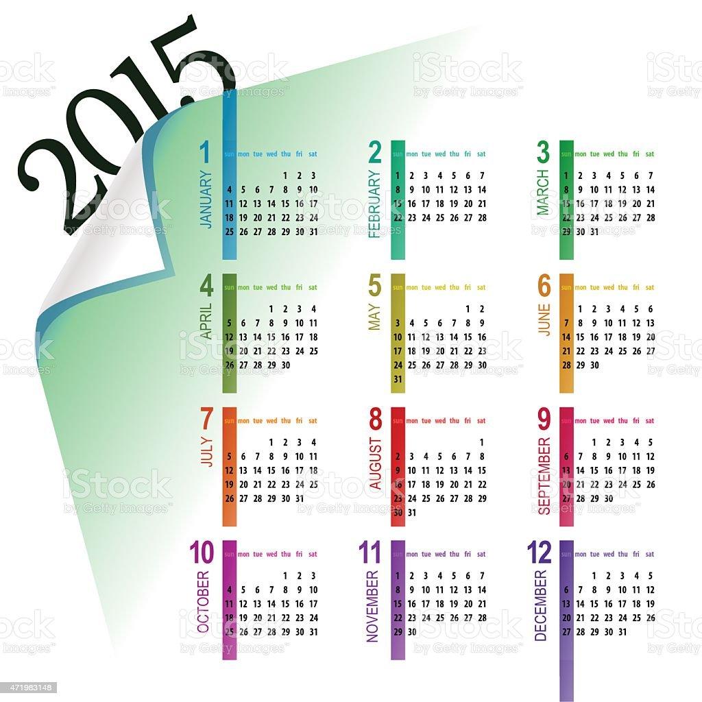 multicolor 2015 calendar vector art illustration