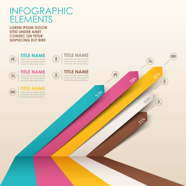 stockillustraties, clipart, cartoons en iconen met multicolor 3d paper infographics with text - lijngrafiek