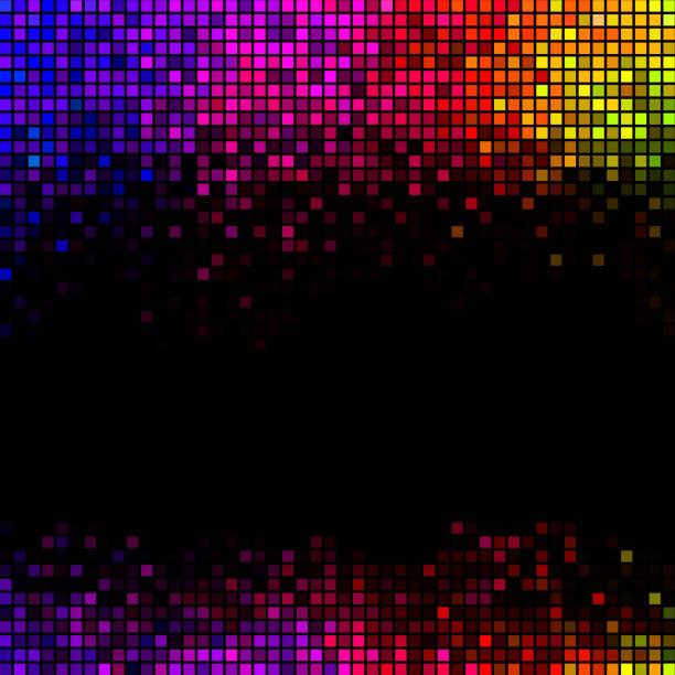 Mehrfarbige abstrakte Leuchten Disco-Hintergrund. Quadratische Pixel-Mosaik-Vektor – Vektorgrafik