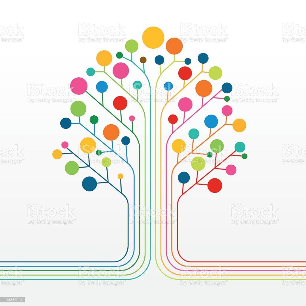 Multicolor abstract tree vector art illustration