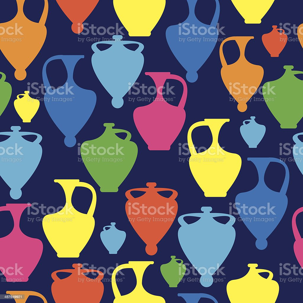 multicolor amphoras icons of seamless pattern royalty-free stock vector art