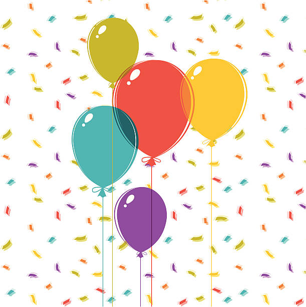 Multicolor balloon and confetti illustration vector art illustration