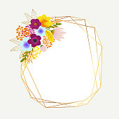 Multi-color Bouquets with Gold Glitter Frames. Delicate Bouquets with Orange, Pink, Blue Flowers Arranged to Form a Cheerful Frame for Greeting Cards and Designs