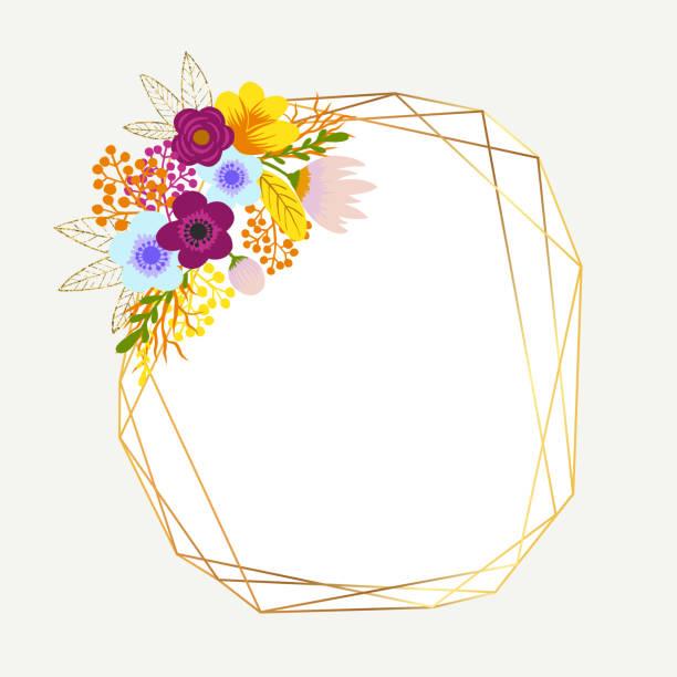 mehrfarbige bouquets mit gold-glitterrahmen. zarte bouquets mit orange, pink, blauen blumen, arrangiert, um einen fröhlichen rahmen für grußkarten und designs zu bilden - clipart goldene hochzeit stock-grafiken, -clipart, -cartoons und -symbole