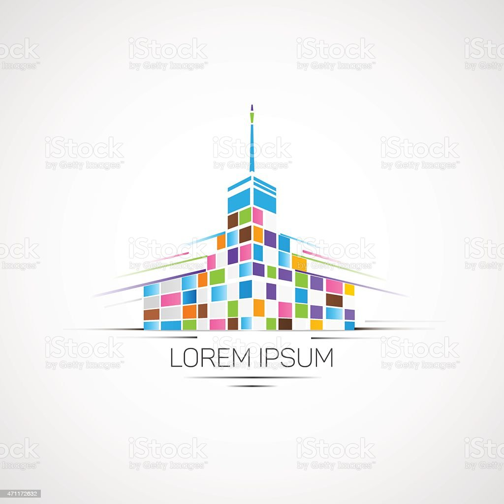 Multicolor building. vector art illustration