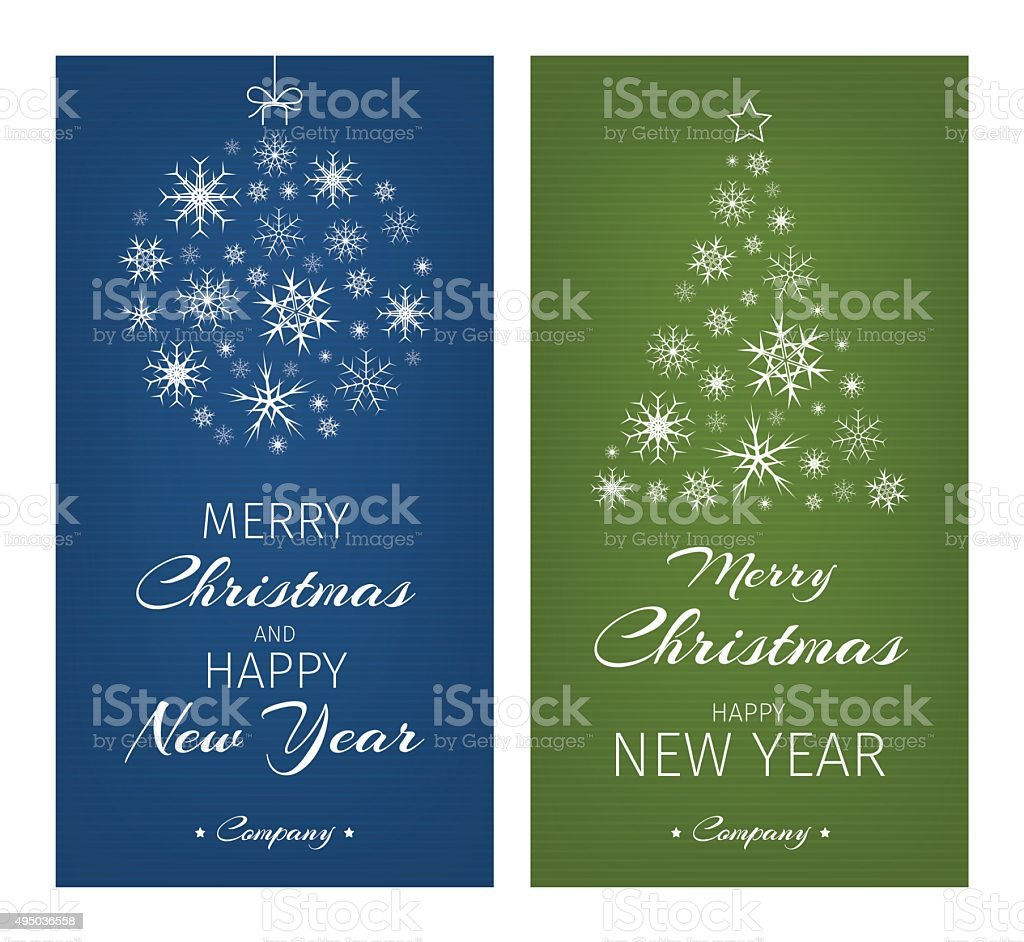 Multicolor Christmas Cards With Ball And Tree From Snowflakes Stock ...