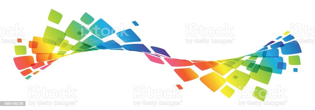 Multicolor curve, rainbow waved lines vector art illustration