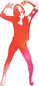 Multicolor dancing woman with bright pattern.