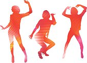 Set of Multicolor dancing women with bright pattern.
