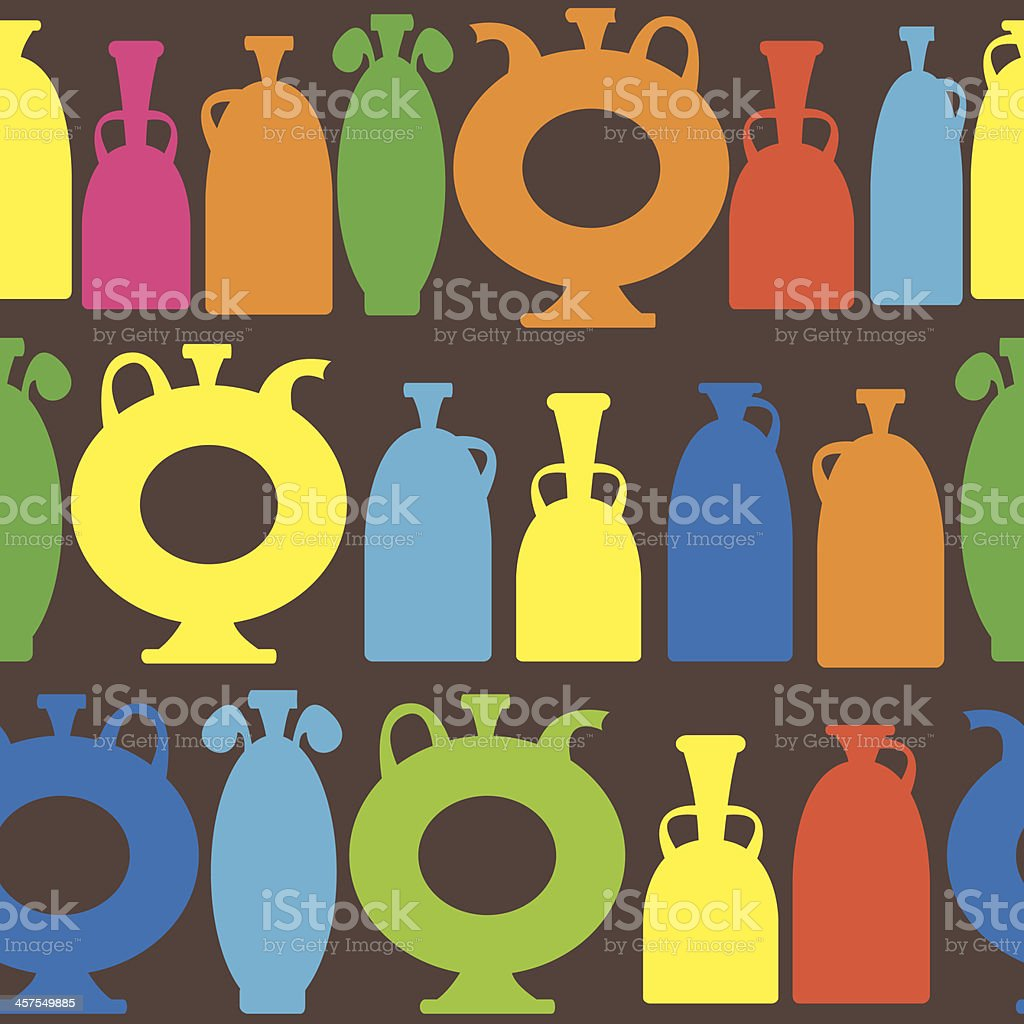 multicolor decorative vases icons of seamless pattern royalty-free stock vector art