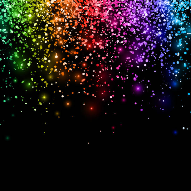 multicolor falling glitter on black background. vector - rainbow glitter background stock illustrations