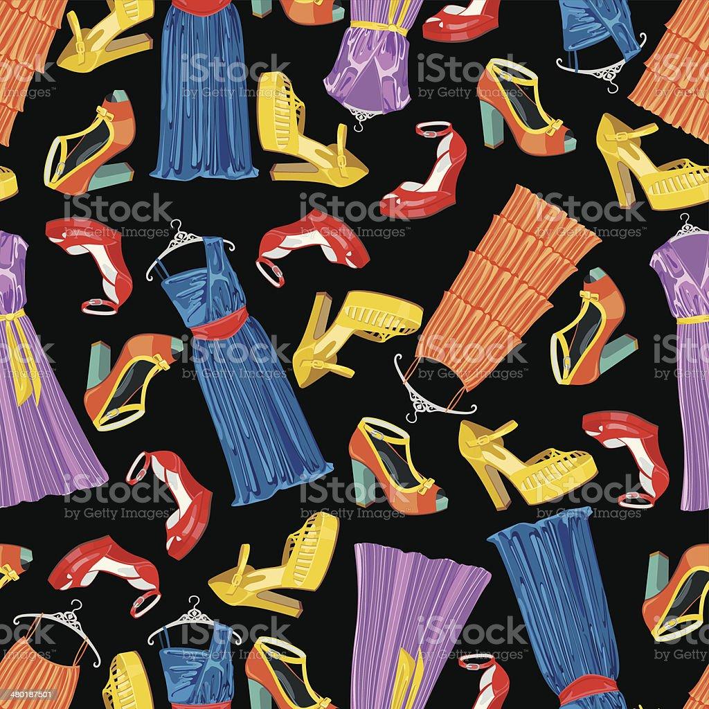 Mehrfarbig Modische Kleider Offene Schuhe In Nahtlose Muster Stock Vektor  Art und mehr Bilder von Accessoires