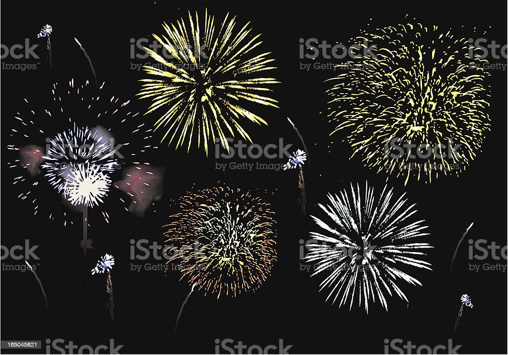 Multicolor fireworks in the sky royalty-free stock vector art
