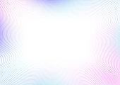 Multicolor frame with white copy space. Border of blue, violet, magenta squiggle lines. Vector background, modern template for album page, postcard, presentation, promotion. EPS10 illustration