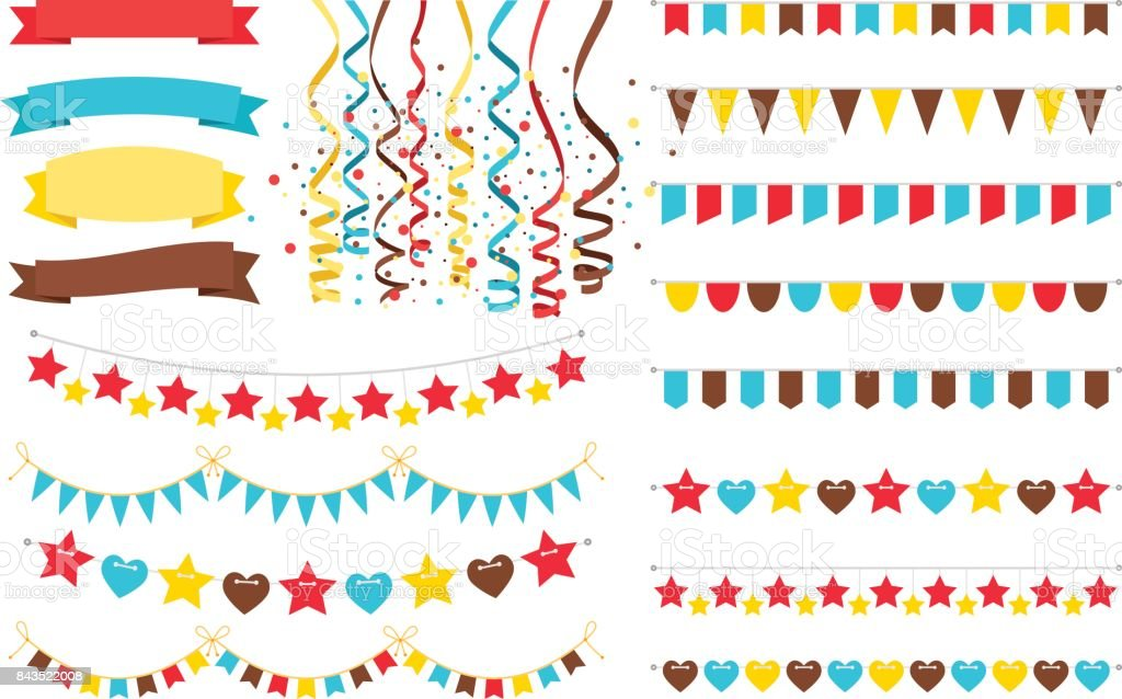 Multicolor garlands, flags and pennant vector art illustration