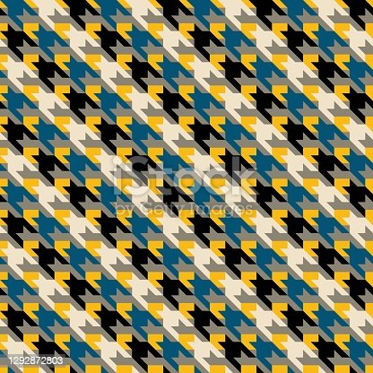 istock Multicolor geometric abstract houndstooth seamless pattern 1292872803